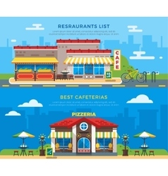 Best Cafeterias And Restaurants List Flat Banners vector