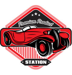 black badge with red retro car and inscriptions vector image