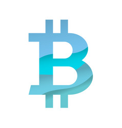 blue bitcoin sign vector image