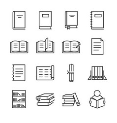 Books line icon set vector