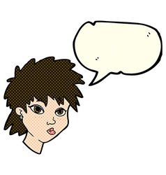 Cartoon curious girl with speech bubble vector