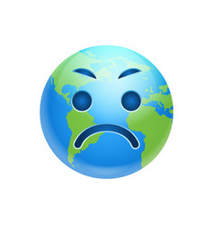 Cartoon earth face angry emotion icon funny planet vector