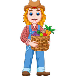 cartoon girl farmer holding a basket of vegetable vector image