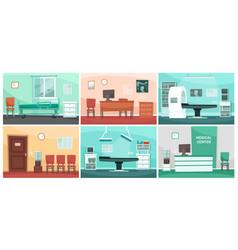 cartoon hospital room medical interiors doctor vector image