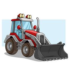 Cartoon wheel front loader bulldozer with shovel vector