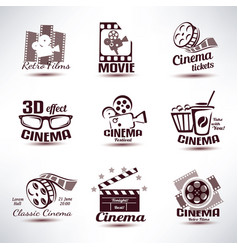 cinema symbols and retro emblems collection vector image