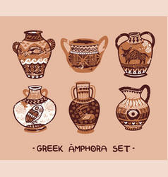 Collection of amphora and vase in the greek style vector