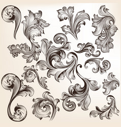 collection swirls in vintage style for design vector image