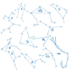 Constellations logo zodiac signs astronomy and vector