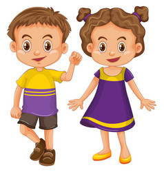 cute boy and girl in yellow and purple costume vector image