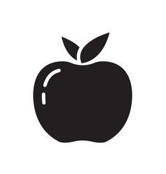 Cutout silhouette apple or peach with leaves icon vector
