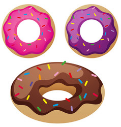 different flavor donuts on white background vector image