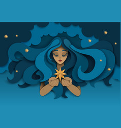 dreaming girl with star paper cut vector image