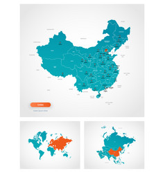 Editable template map china with marks vector