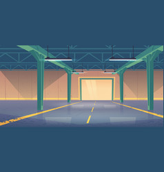 empty warehouse interior with shatter roll gates vector image