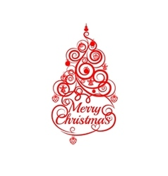 Fir tree christmas red line on a white background vector image
