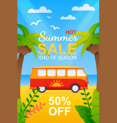 Flyer with hot summer travel sale on season end vector