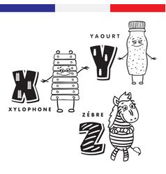 french alphabet xylophone yogurt zebra vector image