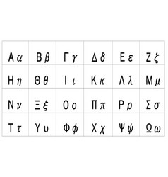 Greek alphabet - uppercase and lowercase letters vector