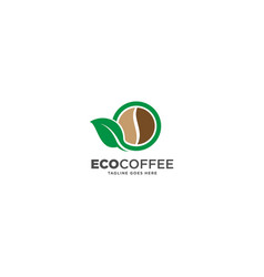 Green nature eco coffee logo design template vector