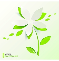 Green paper cutout flower vector image