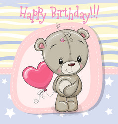 Greeting card teddy bear girl with balloon vector