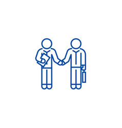 hand shaking businessmen agreement line icon vector image