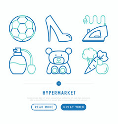 Hypermarket thin line icons set vector