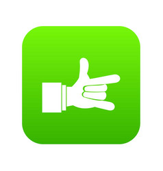 i love you hand sign icon digital green vector image