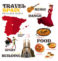 infographic elements for traveling to spain vector image