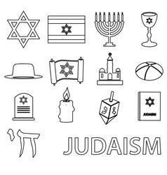 Judaism religion symbols set outline icons vector