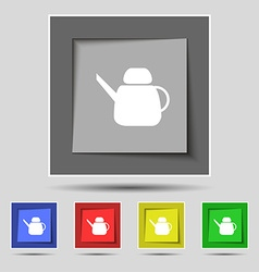 Kettle Icon sign on original five colored buttons vector