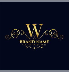 letter w royal vintage golden luxury logo concept vector image