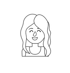 Line beauty woman with hairstyle design and blouse vector