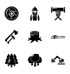 Logging icons set simple style vector