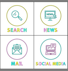mail and search posters set vector image