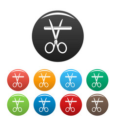medicine scissor icons set color vector image