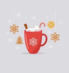 Merry christmas winter scene with a big cocoa mug vector