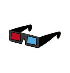 modern 3d cinema glasses entertainment eyesight vector image