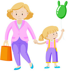 Mother and daughter holding hand vector