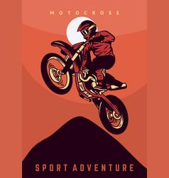 Motocross jump design poster vintage retro vector