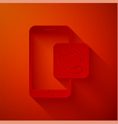 Paper cut mobile phone call icon isolated on red vector