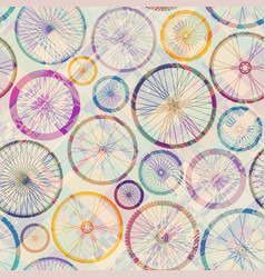 Pattern of bycicles wheels seamless background vector