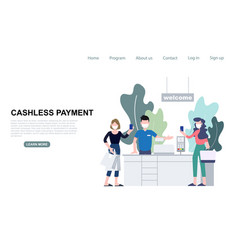 People use contactless payment for buying at vector