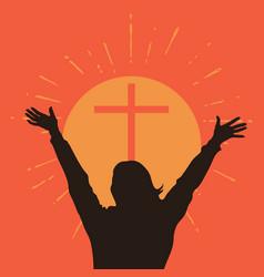 people worshiping god vector image