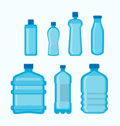 plastic bottles shapes isolated flat icons vector image