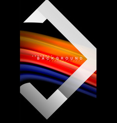 rainbow fluid colors wave and metallic geometric vector image