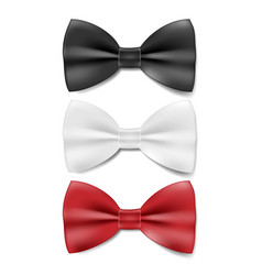 realistic black white and red tie bow tie vector image