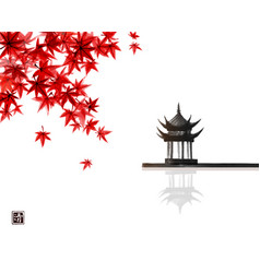 red japanese maple leaves and pagoda temlple over vector image