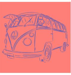 retro bus outline vector image